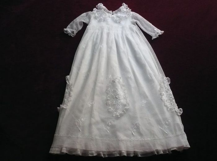 Antique tulle and lace Christening gown