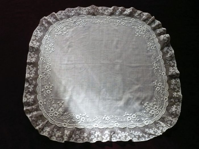 antique lace and embroidered bridal handkerchief