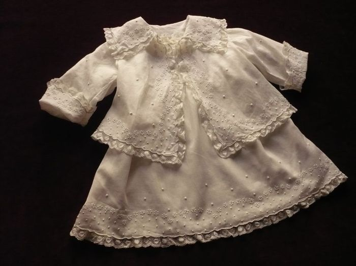 antique newborn embroidered dress and jacket