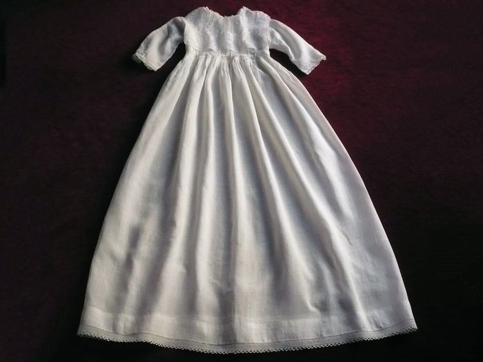 antique lawn linen and lace Christening gown