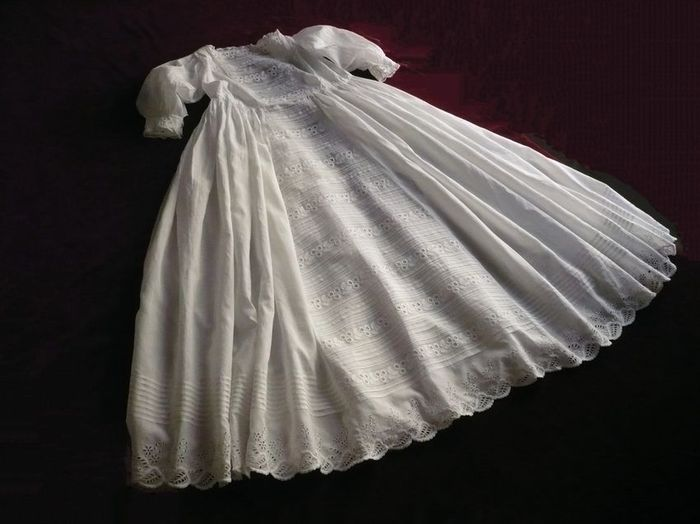 19th century embroidered christening gown