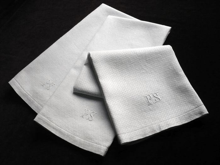 vintage guest hand towels monogrammed PS