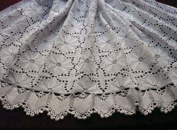 vintage crocheted cotton coverlet