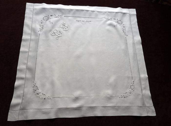 antique linen embroidered pillow shams monogram LP