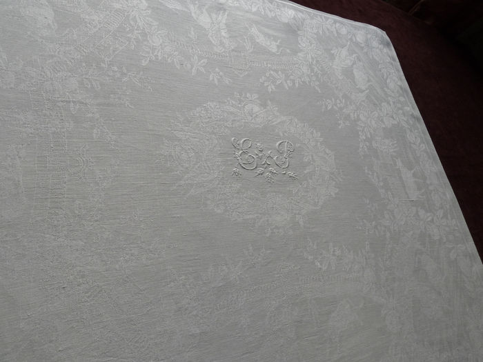 antique linen damask table service mono EP motif bullfight