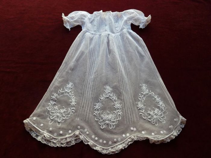 antique tulle embroidered baby dress