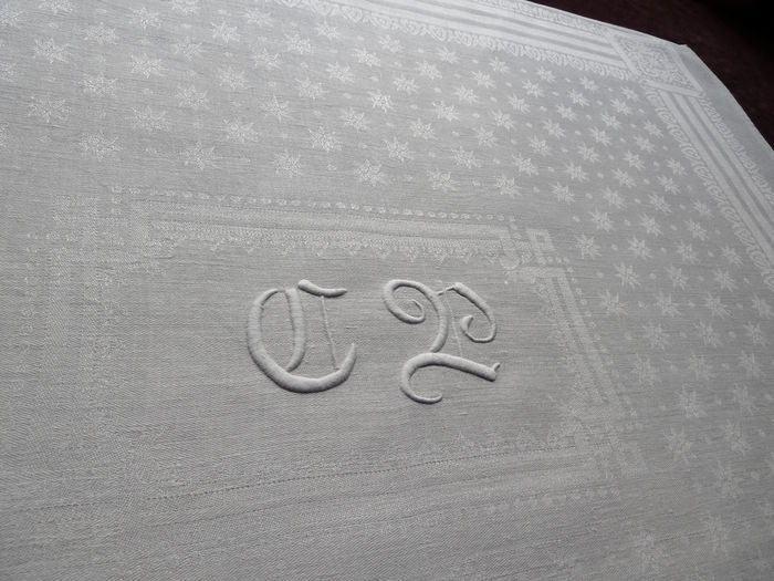 antique linen damask napkins monogram CP