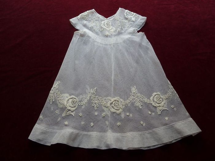 antique silk tulle and embroidered baby dress