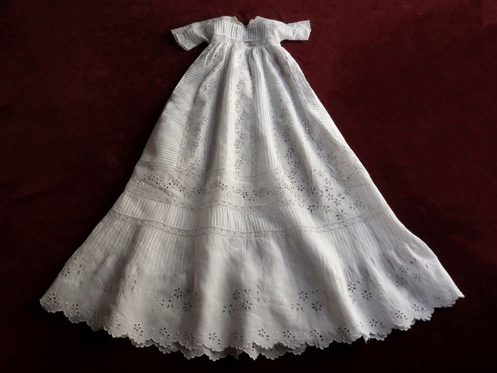 antique French embroidered  and lace christening gown