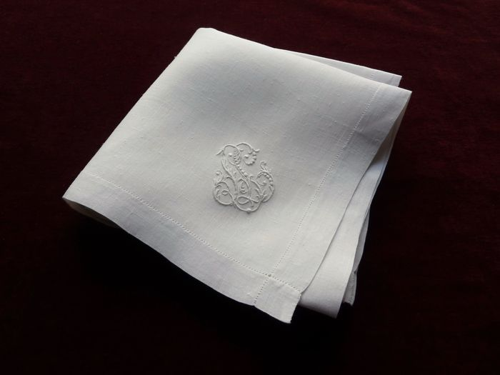 luxury antique linen pocket square monogrammed LL