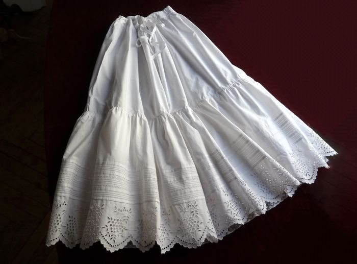 antique French embroidered petticoat