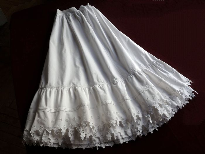 Romantic antique embroidered cotton petticoat