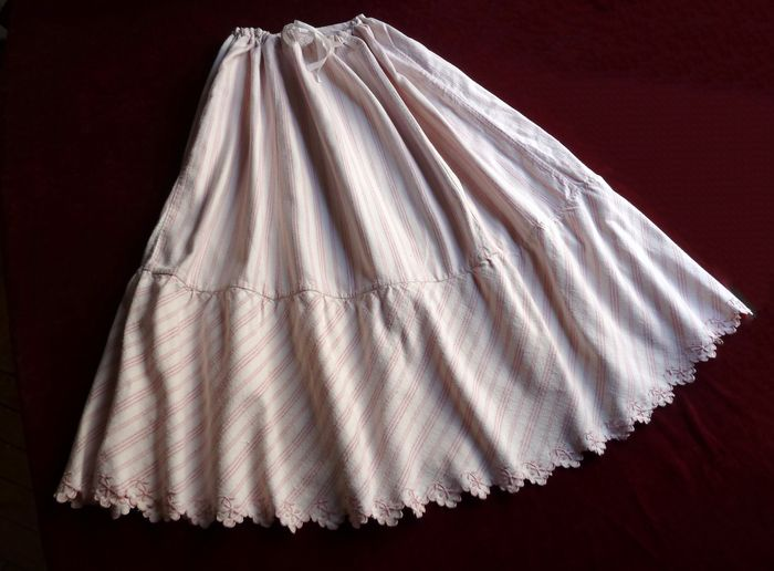 Antique country French embroidered striped flannel petticoat