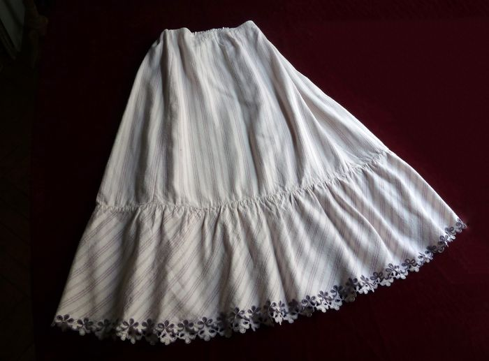 French Provincial antique embroidered petticoat