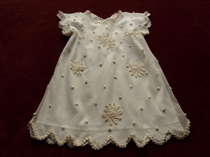 Art Deco embroidered silk tulle baby dress