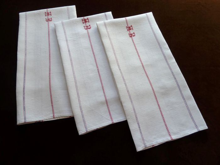 antique linen dish towels monogram HB
