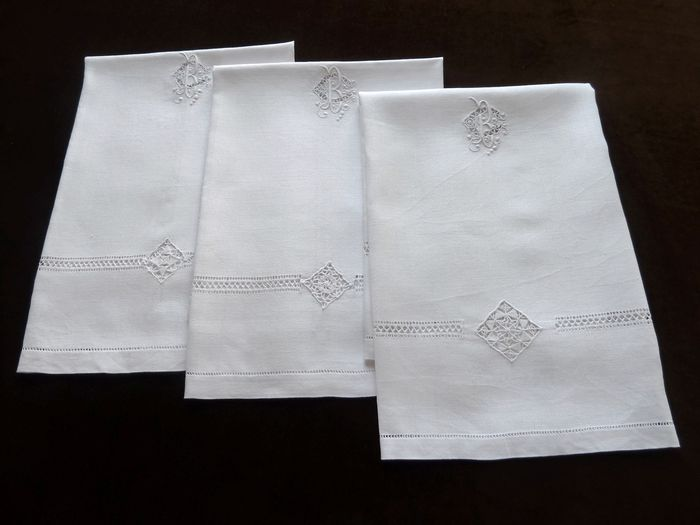 Antique French Linen Hand Towels Monogrammed GB