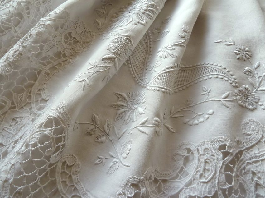 Embroidered antique linen sheets